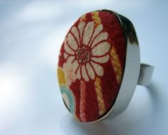 The Japan Collection, Marguerite Ring Japanese Fabric, Jewelry Collection, Color Pop, Jewlery, Coin Purse, Gemstone Rings, Crafts, Handmade, Inspiration