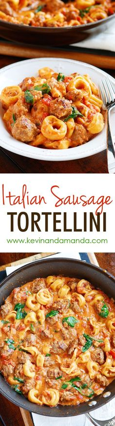 ✔️Italian Sausage Tortellini is a MUST make!! The tomato sauce is so rich and creamy and the Italian sausage is fabulous!! Plus it all cooks in one pot so you only have one dish to wash!! Love it!! Made this with 1/2&1/2 to cut the fat w turkey sausage, chicken tortellini and it was amazing!