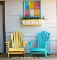 revamping a backyard deck the diy style to add color and charm for a cozy and, decks, gardening, outdoor furniture, painted furniture, Adirondack chairs with window box planter and old window frame