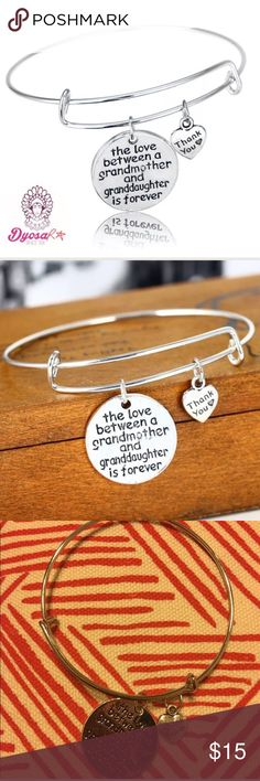 GRANDMOTHER / GRANDDAUGHTER WIRE CHARM  BRACELET This is one silver tone bracelet with an adjustable / expandable wire. Grandmother and Granddaughter charm. If you want additional charms, let me know. 😀 DYOSARA Jewelry Bracelets