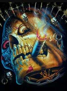 skull by deann Dark Fantasy Art, Dark Art, Airbrush Art, Arte Black, The Crow, Totenkopf Tattoos, Skull Pictures, Gif Pictures, Skull Artwork