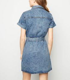 b1cc9dc06a Pale Blue Acid Wash Utility Shirt Dress