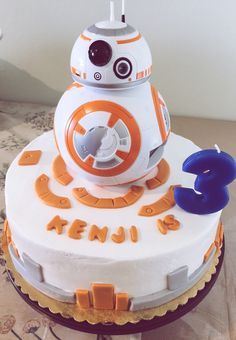 Bb8 Star Wars  Droid in Buttercream and chocolate cake.