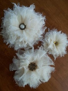 Shabby chic flowers made with cheesecloth