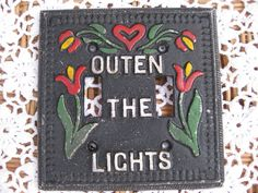 Adorable Vintage  Double Light Switch Plate that says Turn Out the Lights in Dutch? Folk Art Style, Painted Red, Green White and Black. by PatsyTexasRose on Etsy