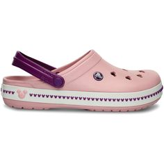 Crocs Pearl Pink & Wild Orchid Crocband Mickey Clog III (645 UYU) ❤ liked on Polyvore featuring shoes, clogs, croco shoes, crocs clogs, lightweight shoes, pearl shoes and crocs shoes