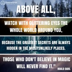 """""""Above all, watch with glittering eyes the whole world around you, because the greatest secrets are always hidden in the most unlikely places. Those who don't believe in magic will never find it."""" Roald Dahl #freewithin #freedom #innerchamp #innerchampion #quote #quoteoftheday #glitter #orld #magic"""