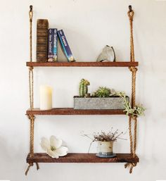 Rope Shelves  Cherry Wood  Rough cut rustic by GrindstoneDesign, $74.00