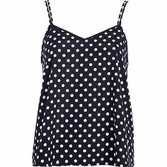 Navy polka dot V neck cami top #riverisland