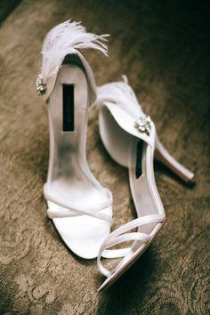 feather wedding shoes idea; photo: Joel Bedford.