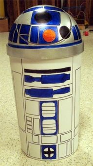 Just in time for Star Wars! Trashcan with sharpies..I'd spray with some clear spray paint once your done so it doesn't rub off