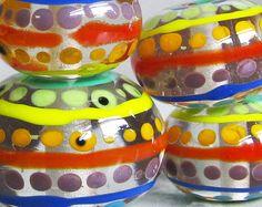 Rainbow Spotty Stripey SetHandmade Lampwork by beadygirlbeads, $49.00