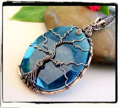 Blue Agate Slab Sleeping Tree of Life Pendant With Chain