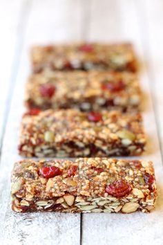 No-Bake Fruit and Seed Granola Bars recipe that make use of all those pumpkin seeds. | Running with Spoons