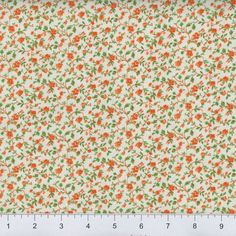 Orange & White Calico Fabric, 100% Cotton, Fabric By The Yard, Vintage Look Fabric, Floral Fabric