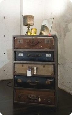Lets be #thrifty fellas, and make this stunning dresser out of old suitcases!