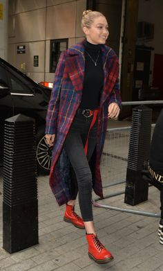 "Rock this season's ""it"" color, red, like stars Victoria Justice, Gigi Hadid, and Selena Gomez. College Fashion, Fashion Week, Look Fashion, Winter Fashion, Womens Fashion, French Fashion, Fashion Tips, Tartan Clothing, Coats For Women"