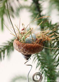 Miniature fairy garden acorn bird's nest with beads. $6.99, via Etsy.