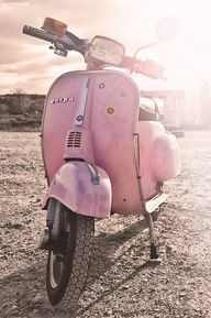 The original blush pink Vespa!  we will have to be in So CA or Hawaii for Sofi to ride it until the wheels fall off. Not practical in UT.