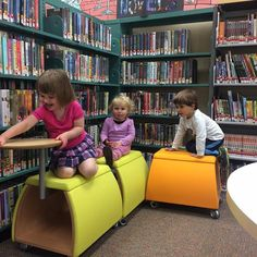 All aboard! These little ones are already using our new furniture to bring their imaginations to life. #centrevillelibrary