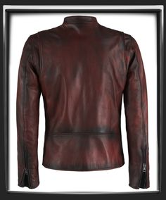 Distressed Red Italian nappa leather with black leather detail. This Leather Jacket was hand crafted in Italy. Motorcycle style leather jacket.