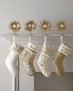 gold crackle stockings. loving the ruffles and rosettes! too cute!