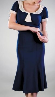 Stop Staring Railene Dress Navy Blue Retro Pinup Vintage Style...good for the annual Road Rocket Rumble!!!
