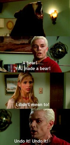 30 day BTVS challenge Day 27 - Your Favorite Scene - This. Is. Impossible. I can't possibly pick my favorite out of every Buffy scene ever. Its just absolutely impossible. So I put the bear scene. :3 I love this part. But there are 5 billion other scenes that I love too!! :D