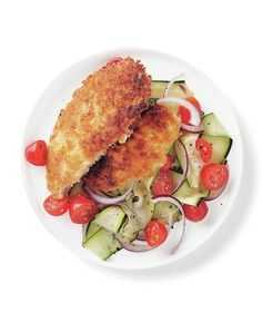 Pan-Fried Chicken Cutlets With Zucchini Salad recipe