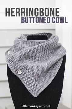 Herringbone Buttoned Cowl Crochet Pattern | Free button cowl crochet pattern by…: