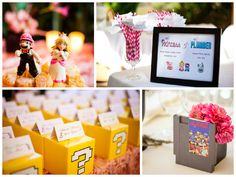 Vintage Video Game Wedding: A couple's shared love of vintage video games can be anything but retro with chic additions– so says the adorable game cartridge centerpieces and yellow coin favor boxes.