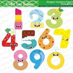 Shopper Toy Digital Clip Art / Shopkins Numbers by CeliaLauDesigns