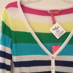 "‼️WEEKEND SALE‼️rainbow stripe hi lo cardigan Semi sheer. 100% viscose. Underarm across 14"". Length 24-28"". Bundle for even higher savings! Offers welcome. No trades. Charlotte Tarantola Sweaters Cardigans"