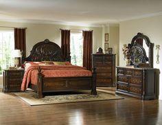 Master bedroom Complete Sets -> Spanish Bay Dark Cherry Wood Bedroom Set W/Eastern King Bed By Home Elegance Master Bedroom Set, Kids Bedroom Sets, King Bedroom, Guest Bedrooms, Bedroom Suites, Childrens Bedroom, Couple Bedroom, White Bedroom, Dream Bedroom