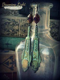 Delilah   earrings verdigris brass aztec by DawningLightDesigns, $20.00