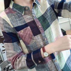 66d7cd65f763 New Style Women Casual Cotton Long Sleeve Plaid Shirt Slim Outerwear Blouse  Tops Ladies Office Bodycon