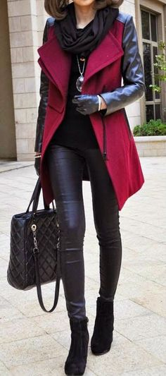 Winter street fashion, black shirt, leggings over red peacoat