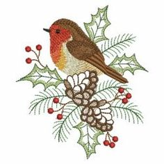 Christmas Robin 07(Sm) machine embroidery designs