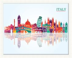 Italy Pop Skyline Framed Graphic Art