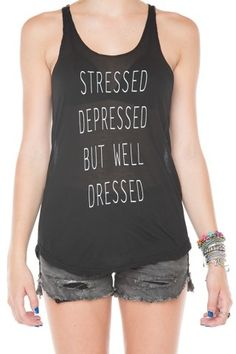 Brandy ? Melville | Stressed Depressed But Well Dressed Tank - Graphic... #brandymelville #welldressed #tank