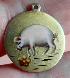ANTIQUE SILVER & ENAMEL THE 3 FRIENDS PIG PIGLET SMELLING OF ROSES REBUS CHARM | eBay, sold for £228,00 Ca. EUR 287,97