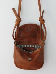 Gables leather satchel mini messenger bag in stripes and rusty brown leather