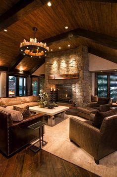 Take a peek inside this stunning modern-rustic Minnesota home This modern-rustic. - Take a peek inside this stunning modern-rustic Minnesota home This modern-rustic residence was reno - Farmhouse Decor Living Room, Cabin Style, Rustic Living Room Design, Rustic House, Minnesota Home, Room Remodeling, House, Farm House Living Room, Rustic Family Room