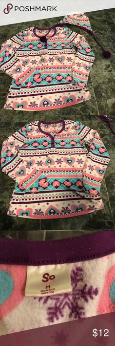 Pajama top and hat Really cute pajama top and hat! Beautiful winter design and really soft fabric! Size medium. Intimates & Sleepwear Pajamas