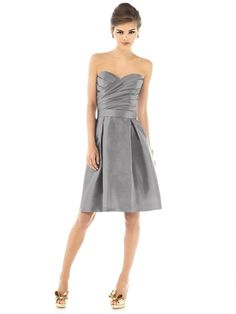 strapless gray bridesmaid dresses