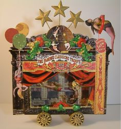 Artfully Musing: Blogaversary of Laura Carson, jeweler.  Amazing steampunk jewelry depicting a circus stage with curtains!