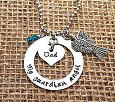 Personalized My Guardian Angel In Loving Memory Necklace Swarovski Crystal Wing - Heart Necklace - Loss Of Dad - Mom - Miscarriage - Loss - Peanut - Miscarriage - Infant - Pregnancy Loss - Remembrance Necklace - Always - Too Beautiful for Earth - Miscarriage Still Birth Necklace - Pendant - Hand Stamped Memorial Jewelry - Infertility - Miscarriage - Quote Jewelry - Memorial Necklace - Bereavement - Remembrance Necklace - Stainless Steel - Swarovski Crystal