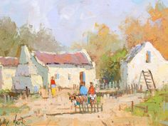 Phillip Britz (SA born Oil, Cottages and Donkey Cart African Art Paintings, South African Art, 5th Avenue, Art Photography, Artsy, Watercolor, Landscapes, Drawings, Donkey