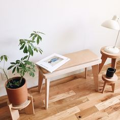 counter space - oak bench and leather cushion