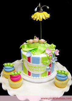Peas in a Pod Baby Shower Cake and Cupcakes